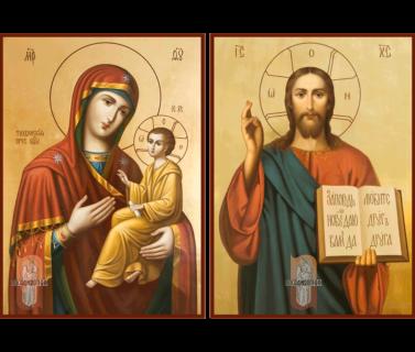 Венчальная пара икон №1 в живописном стиле