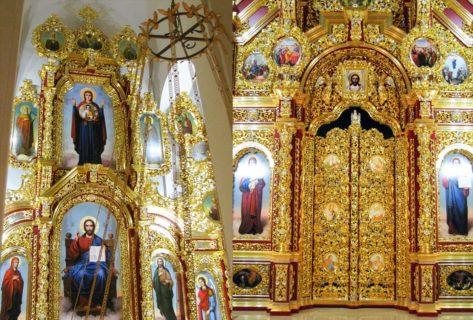 Иконостас верхнего центрального придела храма Александра Невского
