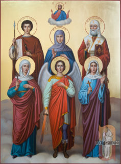 Семейная икона — Михаил, Юлия, София, Маргарита, Алексей, Георгий