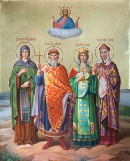 Семейная икона — Владимир, Елена, Мария, Елена 40×50